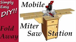 Mobile Fold Down Miter Saw Station