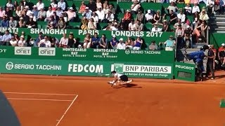 Novak Djokovic TRIPS AND FALLS slow motion - Monte Carlo Rolex Masters 2017