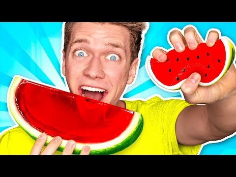 Making CANDY out of SQUISHY FOOD JELLO WATERMELON Learn How To DIY Squishies Food Challenge