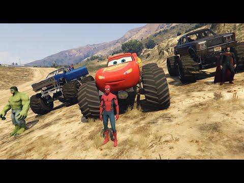 Lightning McQueen Monster Trucks Cars Racing with Superheroes Spiderman Superman Batman Hulk