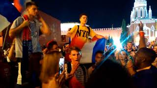 World cup France fans on Red square after the final match. July 15, 2018