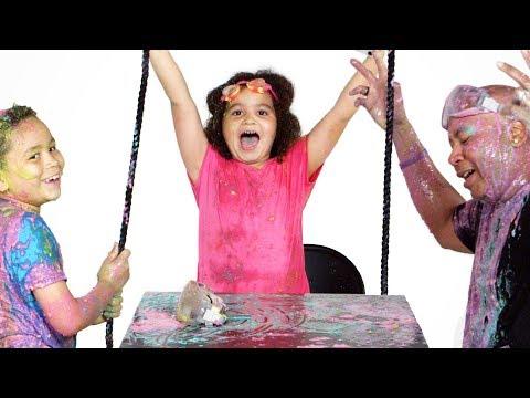 Siblings vs. Dad Slime Show Partners in Slime HiHo Kids