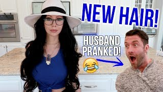 MY NEW HAIR AND GLASSES! (Prank on Husband!)