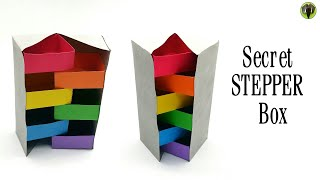 Secret Stepper Gift Box - DIY   How to make   Tutorial   Paper Folds - 793