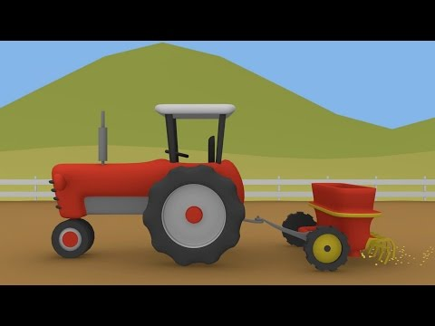 Tractor and Seeder Animation Tractors for Children Traktor i Siewnik Animacje Traktory