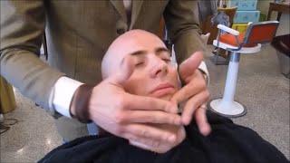 Italian Barber shave massage and hot towel 5/5 - No Talking ASMR