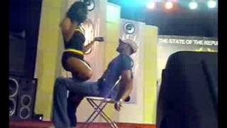 Ms Triniti and her dancers give Ghana boys lap dance