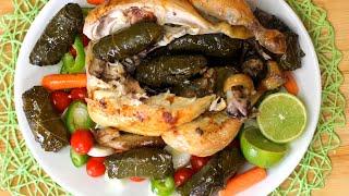 دجاج محشي بورق العنب - بطريقة المطاعم | Chicken ٍStuffed with Grape Leaves