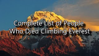 Complete List of People Who Died on Mount Everest