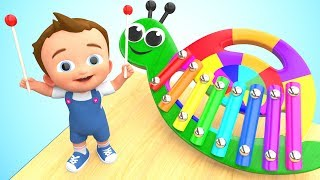 Little Baby Fun Play Learning Colors for Children with Snail Xylophone Wooden Toy Set 3D Kids Edu