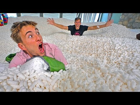24 HOUR CHALLENGE IN 20 MILLION PACKING PEANUTS