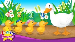 Five Little Ducks - Number song - One Two Three Four Five - Nursery Rhyme - Kids song with lyrics