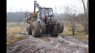 Belarus Mtz 892 forestry tractor with homemade trailer