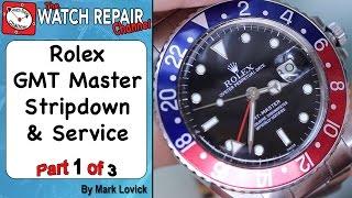 Part 1 of 3. Rolex 3075 GMT Master full strip down service - Watch Repair Tutorial