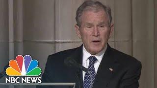 Former President George W. Bush Holding Back Tears, Eulogizes Dad As