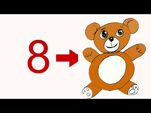 How to draw Teddy bear from number 8- in easy steps for children. beginners
