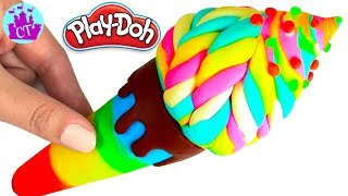 How to Make Play Doh Food Creations Rainbow Ice Cream Learn Colors Play Doh