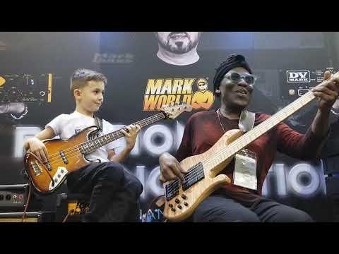 8 year old bass phenom Áron Hodek jams with Richard Bona at 2019 NAMM