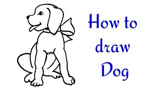 How to Draw a Dog (Puppy) for Kids - Cute Drawing of Animals