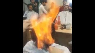 Pakistani Barber Cuts Hair with Fire -Amazing Unbelieveable