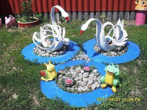 Украшения для сада из подручных материалов