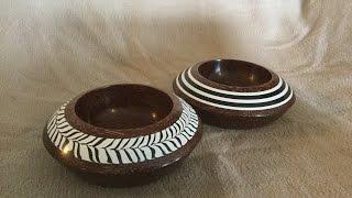 Turning Mahogany Bowls with Milliput Epoxy Putty Inlay