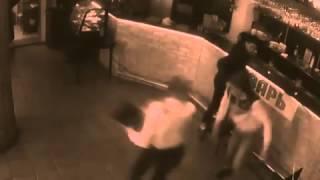 Women waitress in Russia knockdown man when he grab her bottom