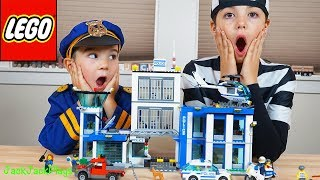 Lego City Police Station - Costume Pretend Play + Playing with Legos
