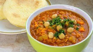 Moroccan Harira -  Red Lentil Soup Recipe  - Vegan Vegetarian