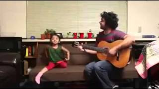 A great music of Father-Small daughter