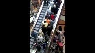 غباء على السلم الكهربائى.dumb people on the escalator !