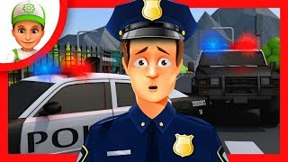 Cartoon how Handy Andy helps save people from the bus. Super car Mega max for kids