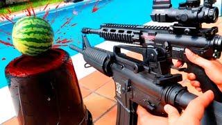 FUSIL DE ASALTO vs SANDIA !!! (M4 + M16) SE CORTARA POR LA MITAD ?? Makiman