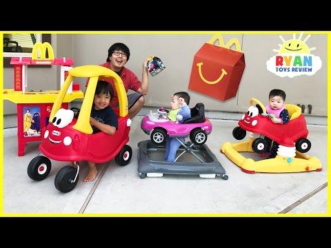 McDonald's Drive Thru Prank Bad Daddy! Babies Kids Ride On Car + McDonald's Indoor Playground