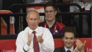 Black Belt Russian President Vladimir Putin, Prince Philip, Duke of Edinburgh watch Olympic Judo