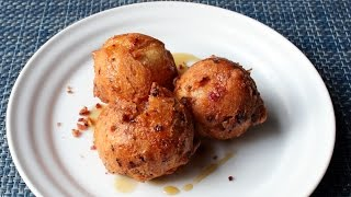 Bacon & Egg Doughnuts - Beignet-style Bacon and Egg Fritters - National Doughnut Day Special