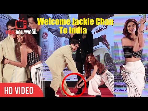 Shilpa Shetty Touchs Jackie Chan Feet | Kung Fu Yoga Promotions In India