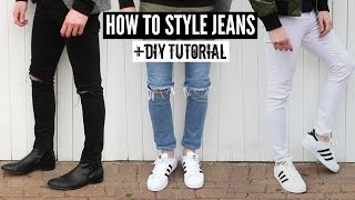 How To Style Jeans / Distressed Denim + DIY Tutorial - Mens Fashion 2018