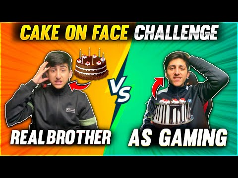 As Gaming Vs Real Brother Cake On Face Challenge 🎂Free Fire Funny Moment 😂 Garena Free Fire