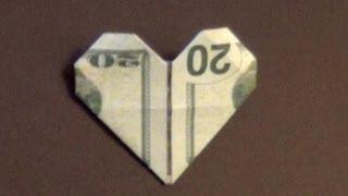 Dollar Origami Heart Tutorial - How to make a Dollar Heart
