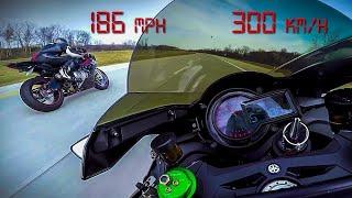 Kawasaki Ninja H2 vs BMW S1000RR - 10 minutes of PURE ADRENALINE Top Speed +200 MPH +330 KM/H - 2017