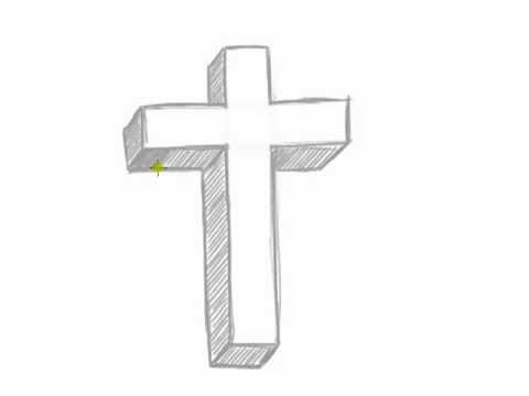 How to Draw a 3D Cross - Easy Things to Draw in 3D