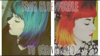 FROM GREEN/BLUE/PURPLE HAIR TO RED/ORANGE OMBRE