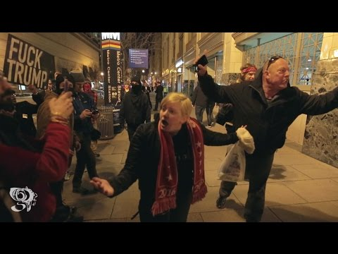 watch Trump supporter Snaps on Protesters night before inauguration