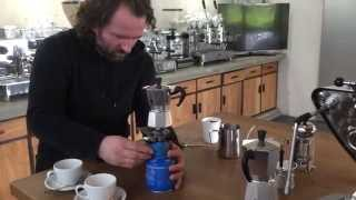 Latte art with italian moka