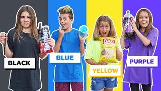 Last to STOP Eating Their COLOR Food WINS $10,000 Challenge *BAD IDEA* 🖤💙💛💜  Piper Rockelle