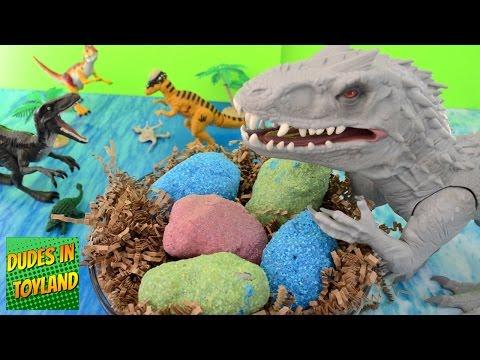 Dinosaur eggs Jurassic World toys Indominus Rex surprise fizzing hatching magic dino