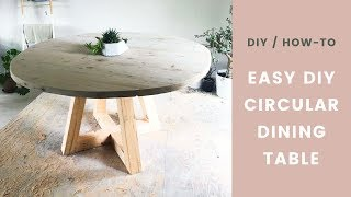 DIY Table — Circular Dining Room Table with Wood Legs — Easy How-To!