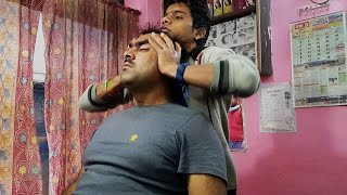 Head & Face massage -Young Indian Barber