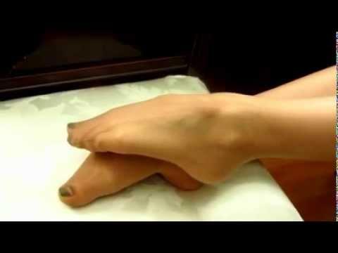 Feet in Sheer Tan Pantyhose
